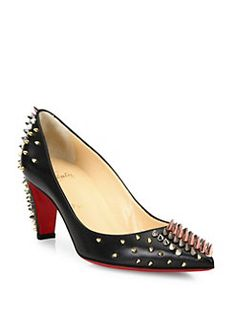 Christian Louboutin - Spiked Leather Mid-Heel Pumps