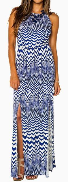 Chevron Zig Zag Dash Maxi Dress