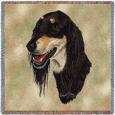 Saluki Dog Portrait Art Tapestry Lap Throw