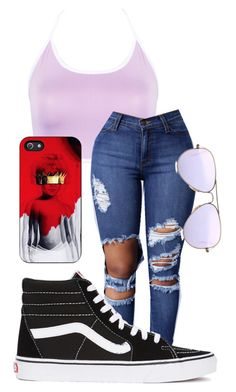 """- ANTI -"" by babygirlaliciaaa ❤ liked on Polyvore featuring WithChic, Ray-Ban and Vans"