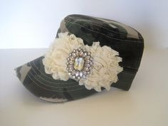 932fe3320aa Green Camouflage Cadet Military Army Hat with Ivory Chiffon Flowers and  Gorgeous Champagne Rhinestone Brooch Accent. Football Caps ...