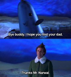 Elf: one of the best Christmas movies.   NARWALS: the best animals ever.