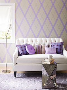 All you need are a few rolls of washi tape, a ruler and a crafts knife to create this striking no-paint wall design.