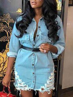 boutiquefeel / Distressed Button Through Long Sleeve Denim Dress Mini Shirt Dress, Belted Shirt Dress, Long Sleeve Mini Dress, Womens Denim Dress, Denim Fashion, Women's Fashion, Womens Fashion Online, Pattern Fashion, Casual Dresses