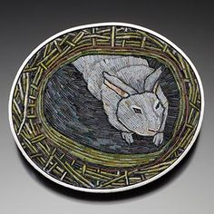 """Cynthia Toops: Brooch in polymer clay mosaic, set in sterling silver. Metalwork by Chuck Domitrovich. Approx 2 1/4 x 2"""". $1,980 (Available for pre-purchase)"""