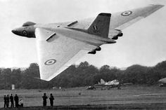 Not a WW2 aircraft but well worth including - Avro Vulcan prototype at Farnborough, 1953.