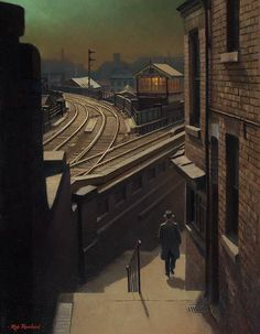 Moonlight Walk down Middle Hill. Rob Rowland, Weekday Cross junction, Nottingham, where the Great Central Railway and Great Northern Railway lines meet. Railway Posters, Travel Posters, Nocturne, Voyager C'est Vivre, Level Design, Bonde, Train Art, Train Pictures, Train Tracks