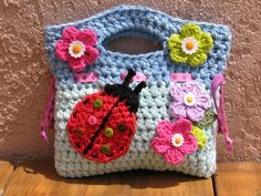 Girls Bag / Purse with Ladybug and Flowers , Crochet Pattern PDF,Easy,