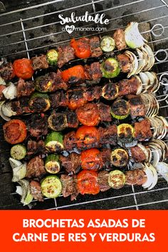 Kabobs, Skewers, Alcohol Drink Recipes, Carne Asada, Kung Pao Chicken, Grilling, Salads, Food And Drink, Cooking Recipes
