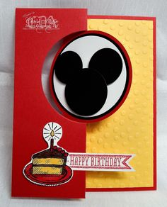 handmade birthday card from * Luv 2 Cre8 With U! * ... flip card with circle ... Mickey Mouse punch art silhouette ... bright and cheerful reda and golden yellow ... fun card! ... Stampin'Up!
