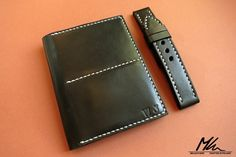 Custom made wallet and watch strap set. www.mkleathers.pl