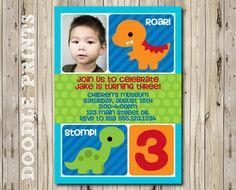 "Dinosaur Birthday Party Invitation - Customized Printable Picture Invitation Party ""Roar Stomp Dinosaur Design"" 4x6"" OR 5x7"". $8.00, via Etsy."