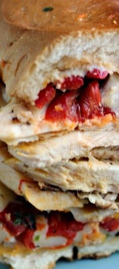 Grilled Smoked Chicken Sandwich with Roasted Red Peppers, Mozzarella, and Red and Yellow Pepper Pesto | Kiss My Smoke