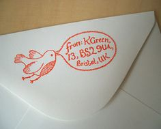 Bird Stamp  Customised with your text by katiegreen on Etsy, £29.50