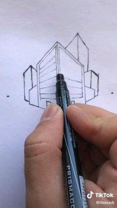 Art Drawings Beautiful, Art Drawings Sketches Simple, Pencil Art Drawings, Easy Drawings, Architecture Drawing Art, Pencil Sketches Architecture, 3d Art Drawing, House Drawing, Perspective Art