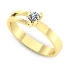 Inelul este format din:  * Piatra principala: 1 x diamant, dimensiune: ~2.80mm, greutate: 0.08ct; * Culoare: G, Claritate: VS2, forma: round Aur, Engagement Rings, Jewelry, Fashion, Jewellery Making, Moda, Wedding Rings, Jewerly, Jewelery