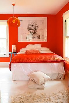Orange Rooms and Home Décor – Saturated Color Spanks Beige Orange Rooms, Bedroom Orange, Orange Bedding, Orange Walls, White Bedroom, Feminine Bedroom, Dream Bedroom, Murs Oranges, Warm Bedroom Colors