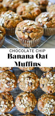 Banana Oatmeal Muffins, Banana Chocolate Chip Muffins, Banana Oats, Chocolate Chip Recipes, Banana Bread Recipes, Chia Seed Muffin Recipes, Oat Muffins Healthy, Banana Breakfast Muffins, Banana Oat Bread
