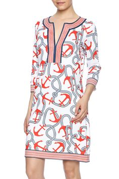 Jersey split-neck dress with a colorful anchor print and knee length.   Anchors Away Dress by Gretchen Scott. Clothing - Dresses - Casual Clothing - Dresses - Printed Virginia
