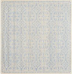 Safavieh Cambridge Square Wool Hand Tufted Geometric Area Rug Light Blue / Ivory Home Decor Rugs Area Rugs Wool Area Rugs, Wool Rug, Wool Yarn, Moroccan Lighting, Papel Scrapbook, Rug Texture, Modern Moroccan, Square Rugs, Hand Tufted Rugs