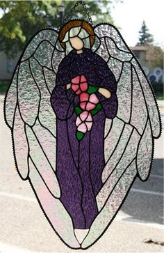 Hand Crafted Stained Glass Angel with Roses by stallingsglass