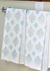 stamped tea towels - could do snowflakes?