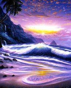 Tropic Sunrise Mural - Steve Sundram  Murals Your Way