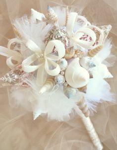Meet Me Bye The Sea Romantic Strawberry Beach Dream Seashell Bridal Bouquet via Etsy
