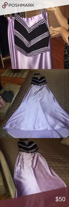 Prom 2pc dress Two piece black and lavender dress Cache Dresses Prom