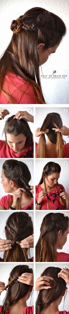 Long Hair Styles for 2017 - HALF UP BRAID BUN- Easy Tutorials for Long Hairstyles with Layers or with Bangs - Haircuts for Long Hair as well as Cuts for Medium and Short Hair - Quick Braids For Teens that Work Great for School and Every Day - Awesome Looks For Weddings and Formals - thegoddess.com/long-hair-styles-2017