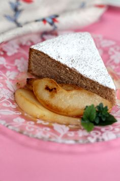 chestnut cake with pan-roasted pears and chestnut honey syrup (wheat free!)