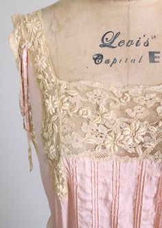 Vintage 1920s Silk and Lace Nightgown from Raleigh Vintage