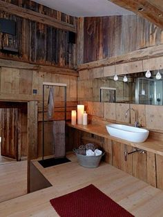 This is the bathroom for my dream log home check list! Ohhh just love it!!  Love this bathroom!