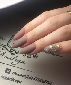 One nail full with rhinestones will be enough for festive and glamorous look of manicure.