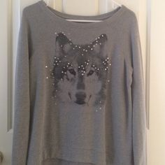 Wolf sparkle sweater Sequined wolf sweater, sweatshirt without a hood. Size medium, high low sweater. Hollister Sweaters Crew & Scoop Necks