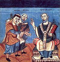 """Raban-Maur Alcuin Otgar. Il est possible aussi que ce surnom de """"Pieux"""" lui ait été valu par sa propension à tomber en larmes lorsqu'il entrait dans des lieux saints, comme ce fut le cas lorsqu'il se recueillit sur la tombe de son père Charlemagne à Aix la Chapelle"""