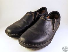 Womens-BOC-BORN-Concept-Black-Leather-Slip-On-Shoes-Clog-Size-10-Loafer