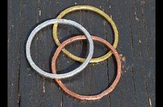 Brazaletes - set 3 esclavas plata+cobre+laton - hecho a mano por siledu en DaWanda