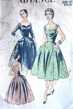 vintage 50's Advance 7013 dress with unique trim by monicacarmel, $30.00