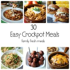 30 Easy Crockpot Recipes - Perfect for back to school time. The best crockpot meals out there! Crock Pot Food, Crockpot Dishes, Crock Pot Slow Cooker, Healthy Crockpot Recipes, Slow Cooker Recipes, Cooking Recipes, Crockpot Meals, Freezer Meals, Sick Recipes
