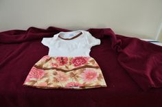 Cute Onesie Flower Dress with Brown Trim by PapersRocksScissors, $34.00