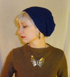 60s Hat - Slouchy Beanie in Navy by chloeheartsowls on Etsy