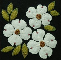 Wool applique BOM PATTERN &/or KIT Dogwood 6x6