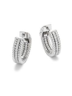 Diamond & 14K White Gold Hoop Earrings