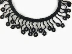 Crochet Necklace Black Flower Crochet Bead Necklace  Black