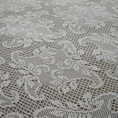 Vintage Hand Crochet Tablecloth White Filet Lace by MissIvyVintage