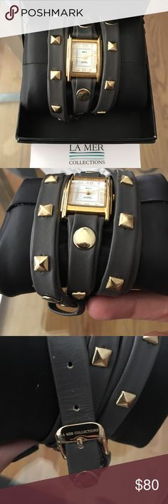 """La Mer Grey Leather Pyramid Stud Wrap Watch ⌚️️Authentic La Mer grey leather gold studded wrap watch! In great condition, a couple tiny scufs on the end of strap. Battery needs to be replaced. Only worn twice! 3/8"""" square gold pyramid stud details. 22"""" long, 1/2"""" wide strap. Nickel free. Comes with hard Casey No trades! ⌚️ La Mer Accessories Watches"""