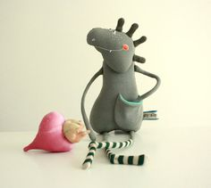 Dino plush toy stuffed dinosaur friend handmade by Skripskrap