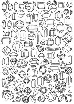 line drawings of gems, can be used for making fake wooden or chipboard gems, or even shrinky dinks