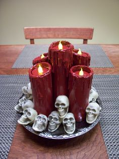 previous pinner said:   I made a candle cluster a couple years back using PVC and that very same DT platter.  I rolled up some cardboard and stuffed it into the PVC pipe to have something for the tea light to rest on.